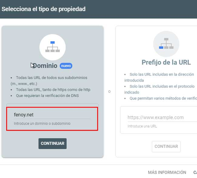 Verificar Search Console con registro de dominio
