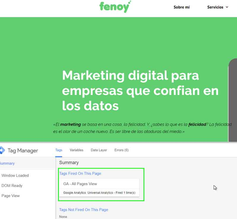 Vista previa de Tag Manager con etiqueta de Google analytics implementada