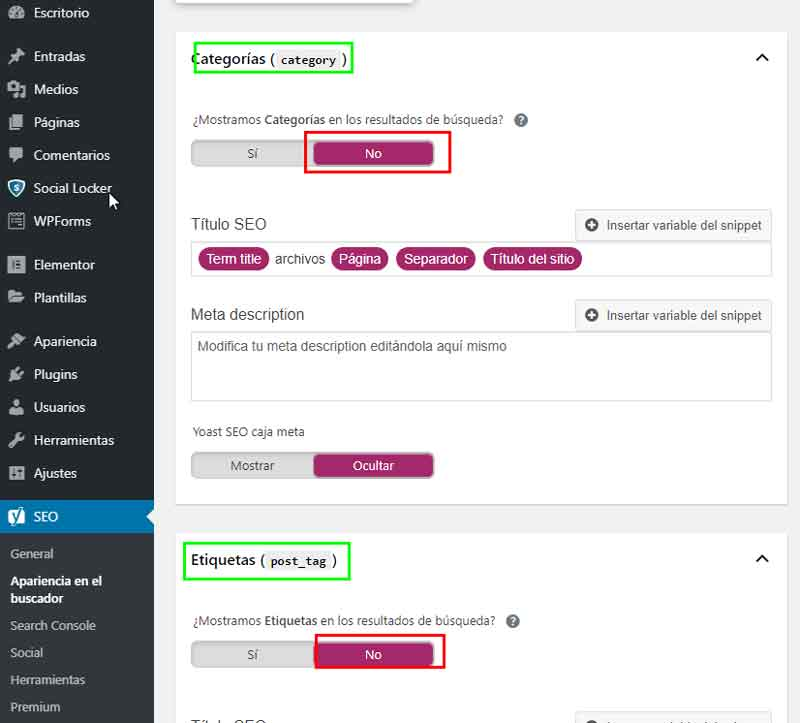Desindexar categorias y etiquetas con Yoast Seo