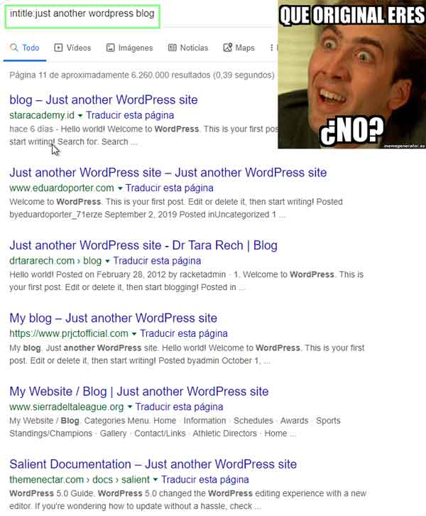 just another worpdress site fail serp status