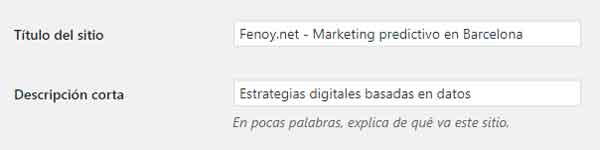 titulo y descripcion del sitio wordpress fenoy.net